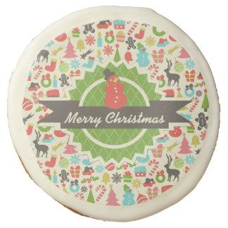 Cute Snowman Merry Christmas Retro Pattern Sugar Cookie
