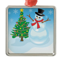 Cute Snowman Metal Ornament