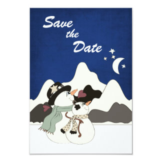 Cute Snowman Mountain Wedding Save the Date Card