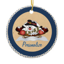 Cute Snowman  on a Sled Blue Ornament