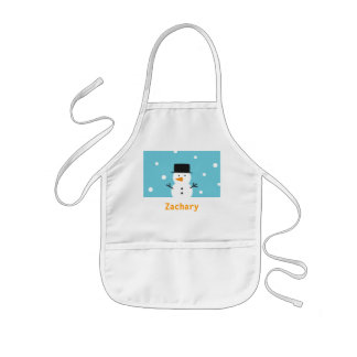 Cute Snowman on snow background for Christmas Kids' Apron