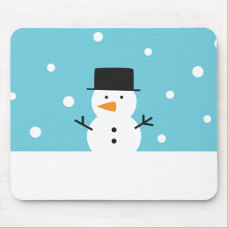 Cute Snowman on snow background for Christmas Mouse Pad