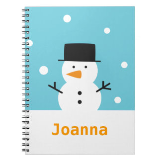 Cute Snowman on snow background for Christmas Notebook