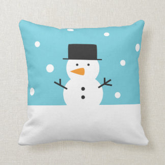 Cute Snowman on snow background for Christmas Throw Pillow