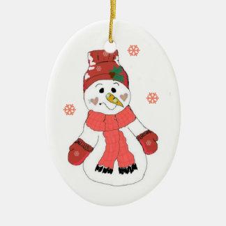 Cute Snowman Double-Sided Oval Ceramic Christmas Ornament
