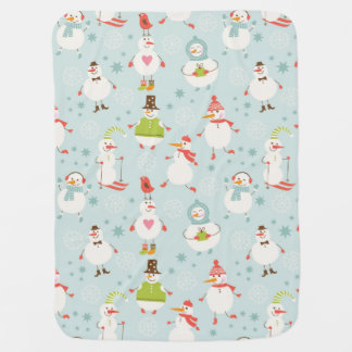 Cute Snowman Pattern Receiving Blanket