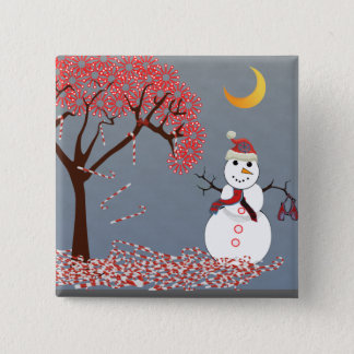 Cute Snowman Pinback Button