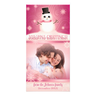 Cute Snowman Pink Seasons Greetings Custom Photo Greeting Card