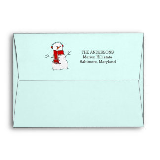 Cute Snowman Red Scarf Holiday Blue Envelope