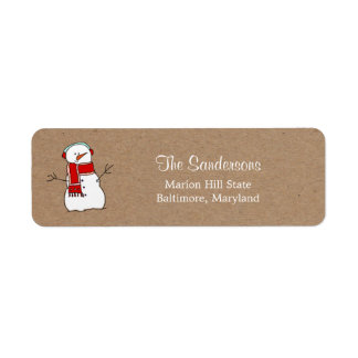 Cute Snowman Red Scarf Kraft Paper Holiday Label