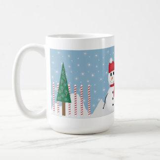 Cute Snowman Santa Hat Holiday Mug