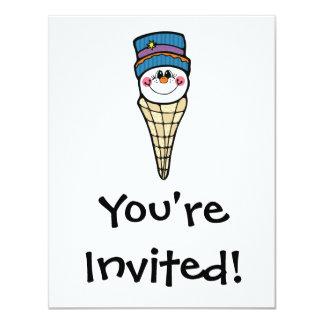 cute snowman snowcone 4.25x5.5 paper invitation card