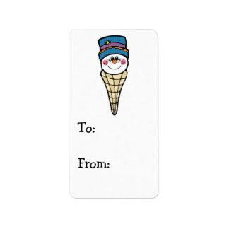 cute snowman snowcone address label