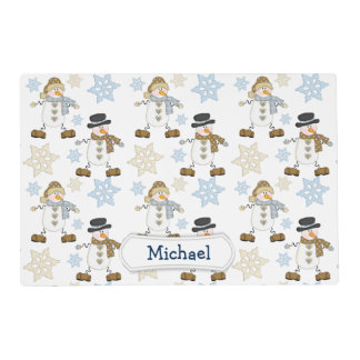 Cute Snowman Snowflake Personalized Kids Laminated Placemat