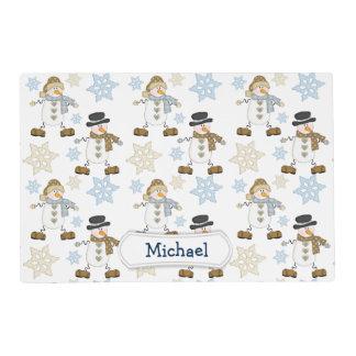 Cute Snowman Snowflake Personalized Kids Placemat