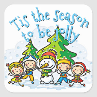Cute Snowman Tis The Season To Be Jolly Square Sticker