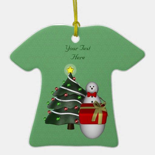 Cute Snowman Tree Holiday Customizable Ornament