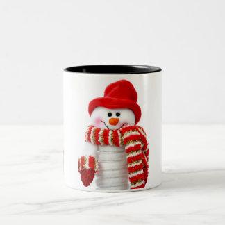 Cute Snowman Two-Tone Coffee Mug