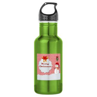 Cute Snowman Under the Mistletoe Quatrefoil 18oz Water Bottle