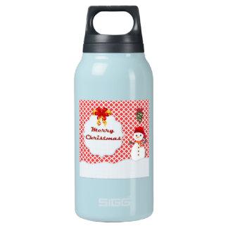 Cute Snowman Under the Mistletoe Quatrefoil Thermos Bottle