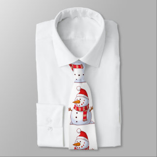Cute snowman wearing a red hat with red scarf neck tie