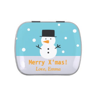 Cute Snowman Winter Personalized Greeting Candy Jelly Belly Tin