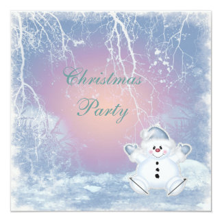 Cute Snowman & Winter Scene Christmas Party Card