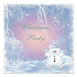 Cute Snowman & Winter Scene Christmas Party 5.25x5.25 Square Paper Invitation Card