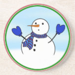 Cute Snowman With Blue Mittens Drink Coasters