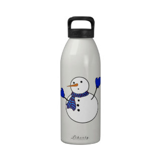 Cute Snowman With Blue Mittens Drinking Bottle