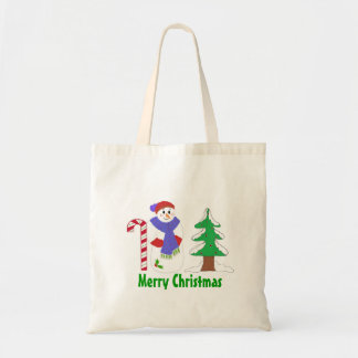 Cute Snowman with Candy Cane and Tree Canvas Bags
