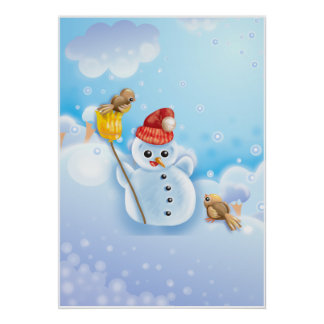 Cute Snowman with Christmas Robins Poster