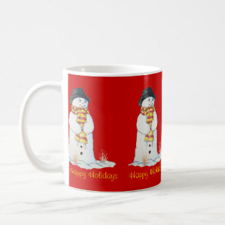 Cute snowman with Christmas stocking in the snow Coffee Mug