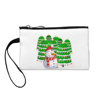 Cute Snowman with Christmas Trees Change Purses