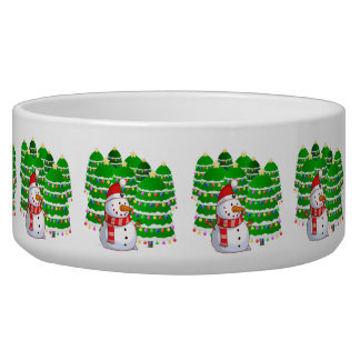 Cute Snowman with Christmas Trees Dog Food Bowls