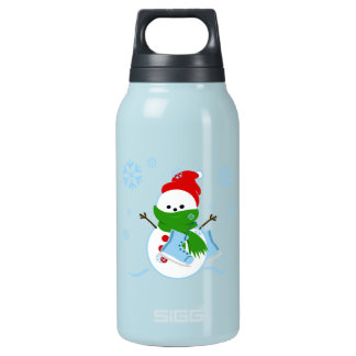 Cute Snowman with Ice Skates Insulated Water Bottle