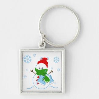 Cute Snowman with Ice Skates Keychain
