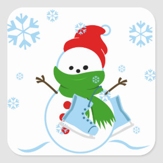 Cute Snowman with Ice Skates Square Sticker