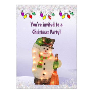 Cute Snowman with Lights Christmas Party Personalized Invites