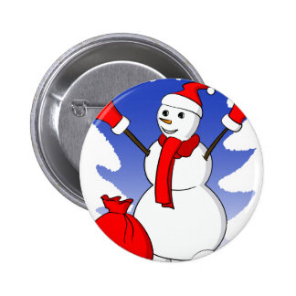 Cute snowman with red gloves and scarf pinback buttons