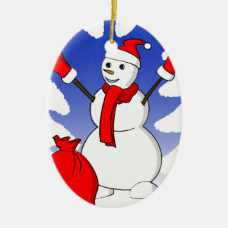 Cute snowman with red gloves and snowflakes ceramic ornament