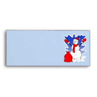Cute snowman with red gloves and snowflakes envelope
