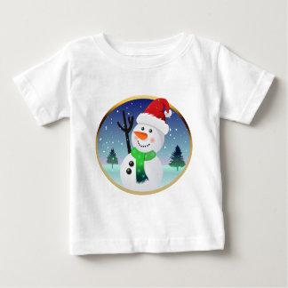 Cute Snowman With Santa Hat Cartoon Baby T-Shirt