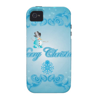 Cute snowman with soft blue background Case-Mate iPhone 4 cover