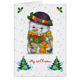 Cute snowman with two little mice Card