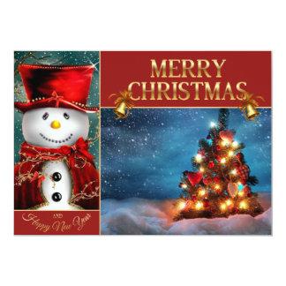 Cute snowmans - Christmas tree Card