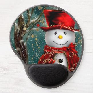 Cute snowmans - snowman illustration gel mouse pad