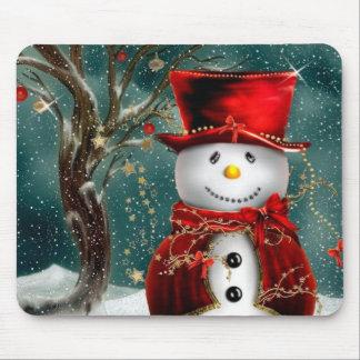 Cute snowmans - snowman illustration mouse pad