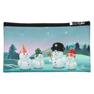 Cute Snowmen Cartoon Cosmetic Bags