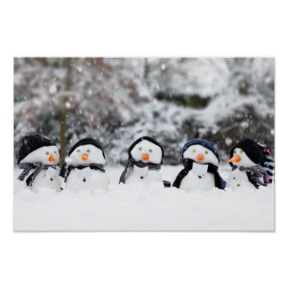 Cute snowmen dressed for winter poster